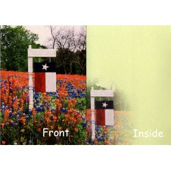 06158-Wooden Texas Flag notecard Texas Flag and bluebonnets with Indian Paintbrush