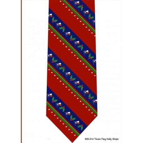 600-014-Texas Flag Holly stripe tie